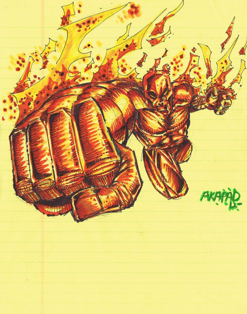 Human Torch Sketch by Peter A DeLuca AKAPAD